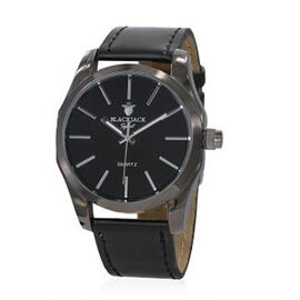BLACKJACK Japanese Movement Black Colour Dial Water Resistant Watch in Black Tone with Stainless Steel Back and Genuine Leather Strap