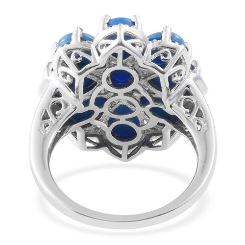 Ceruleite (Ovl), Diamond Flower Ring in Platinum Overlay Sterling Silver 5.500 Ct.