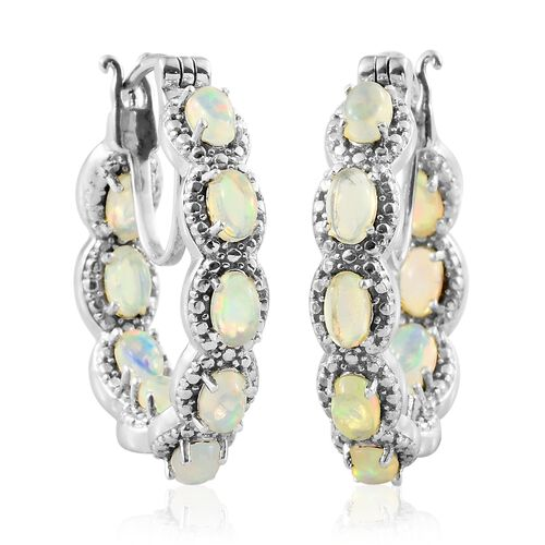 One Time Deal-Ethiopian Welo Opal (Ovl) In Out Hoop Earrings (with Clasp Lock) in Platinum Overlay Sterling Silver 3.250 Ct. Silver wt. 9.03 Gms.