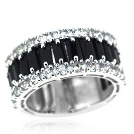 Boi Ploi Black Spinel (Bgt), White Topaz Half Eternity Ring in Rhodium Plated Sterling Silver 7.050 Ct.