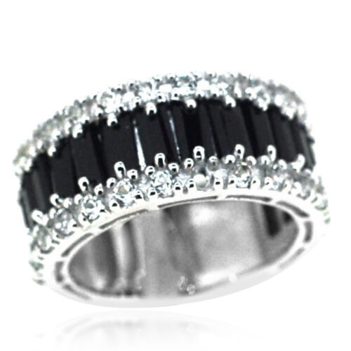 Boi Ploi Black Spinel (Bgt), White Topaz Half Eternity Ring in Rhodium Plated Sterling Silver 7.050 Ct.