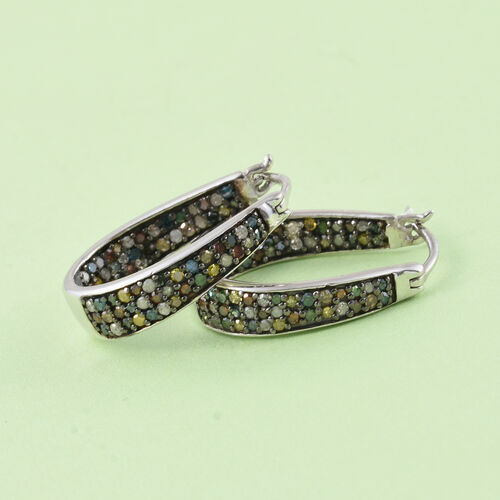 Designer Inspired-Multi Colour Diamonds Hoop Earring (with Clasp) in Platinum Overlay Sterling Silver 1.000 Ct.