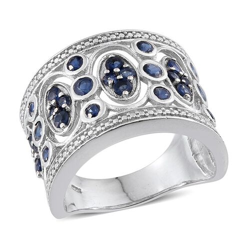 Kanchanaburi Blue Sapphire (Rnd) Ring in Platinum Overlay Sterling Silver 2.750 Ct.