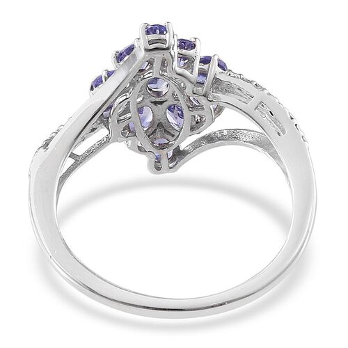 Tanzanite (Ovl) Ring in Platinum Overlay Sterling Silver 1.750 Ct.