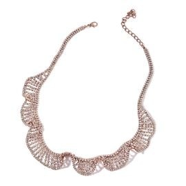 Designer AAA White Austrian Crystal Wave Necklace (Size 20 with 2 inch Extender) in Silver Tone