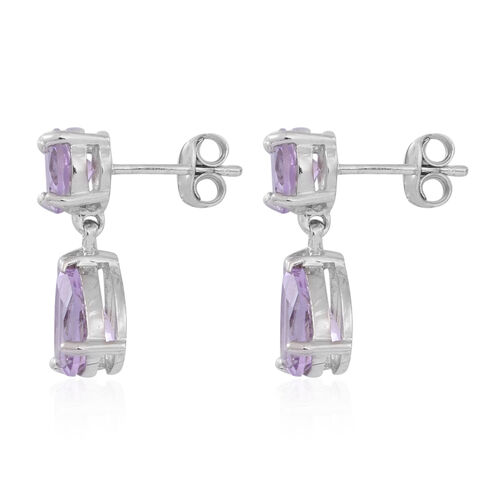 Rose De France Amethyst (Pear) Earrings (with Push Back) in Rhodium Plated Sterling Silver 5.000 Ct.