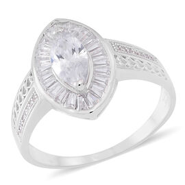 ELANZA AAA Simulated White Diamond (Mrq) Ring in Rhodium Plated Sterling Silver