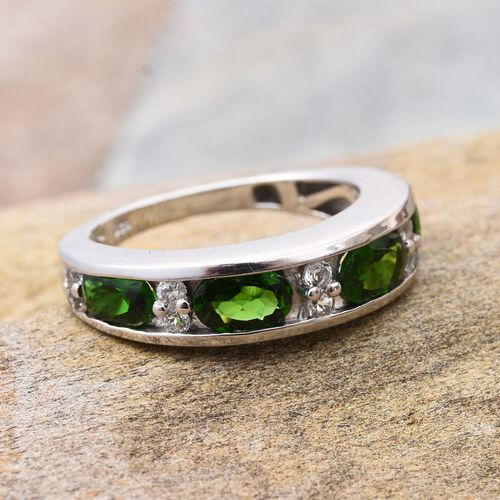 Russian Diopside (Ovl), White Topaz Half Eternity Band Ring in Platinum Overlay Sterling Silver 2.000 Ct.