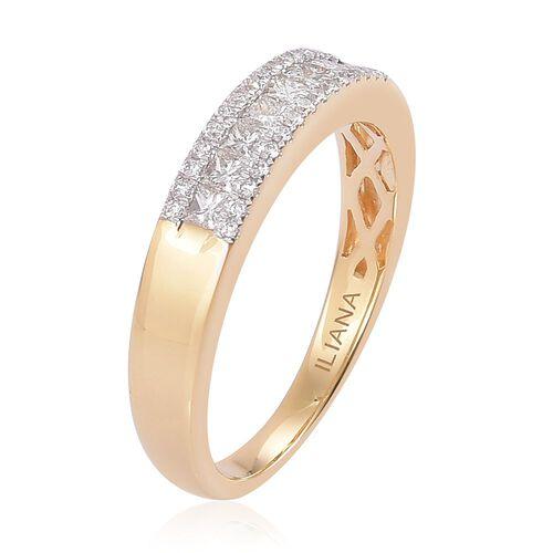 ILIANA 18K Yellow Gold IGI Certified Princess Cut Diamond (SI G-H) Band Ring 0.500 Ct.
