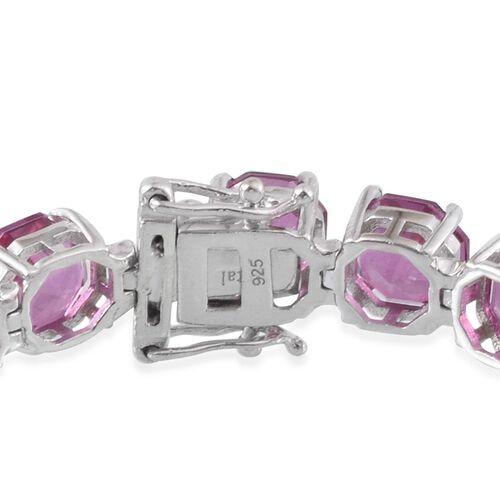 Kunzite Colour Quartz (Octillion Cut) Tennis Bracelet (Size 7.5) in Platinum Overlay Sterling Silver 54.500 Ct.