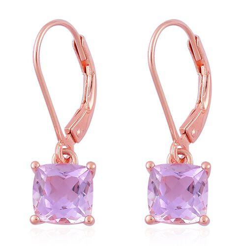 Rose De France Amethyst (Cush) Lever Back Earrings in Rose Gold Overlay Sterling Silver 2.500 Ct.