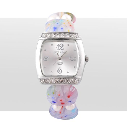 STRADA Japanese Movement White Sunshine Dial with White Austrian Crystal Water Resistant Watch in Silver Tone with White Murano Glass and Fresh Water White Pearl Strap