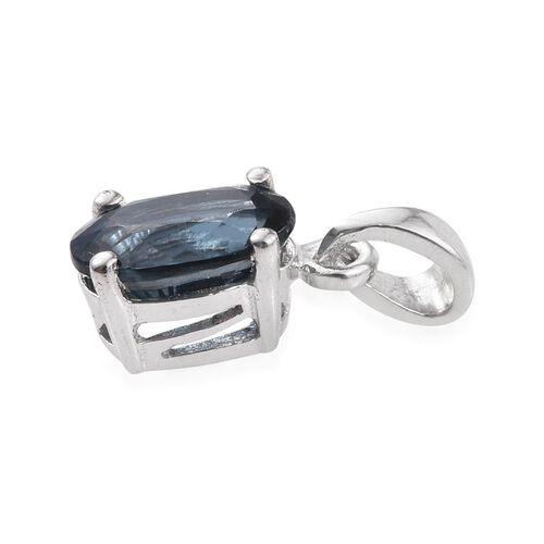 Odisha Teal Kyanite (Ovl) Solitaire Pendant in Platinum Overlay Sterling Silver 1.000 Ct.