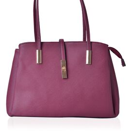 Dark Fuchsia Colour Tote Bag (Size 35.5x23.5x13 Cm)