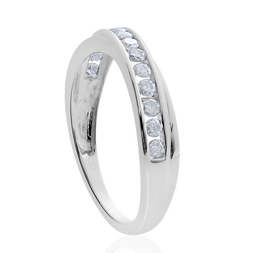 9K White Gold SGL Certified 0.50 Carat Diamond Half Eternity Band Ring (I 3/G-H).