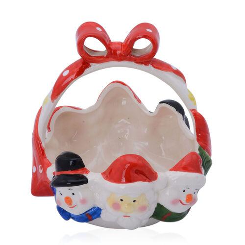 Multi Colour Ceramic Basket with Santa and Two Snowmen