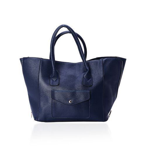 Set of 2 - Navy Colour Large and Small with Adjustable and Removable Shoulder Strap Tote Bag (Size 53x28x18 Cm, 25x21x10 Cm)