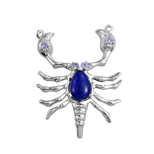 Lapis Lazuli (Pear 2.00 Ct), Tanzanite Scorpion Pendant in Platinum Overlay Sterling Silver 2.250 Ct.