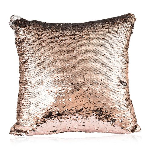 Set Of 2 - Two Tone Cushion Colour Change Rose and Grey Cover with Sequins at Frontside (Size 40X40 Cm)