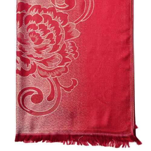 Subshrubby Peony Floral Pattern Dark Red Colour Scarf (Size 180x70 Cm)