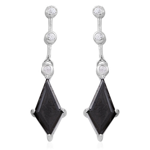 Boi Ploi Black Spinel (Kite), White Zircon Earrings (with Push Back) in Rhodium Plated Sterling Silver 5.240 Ct.