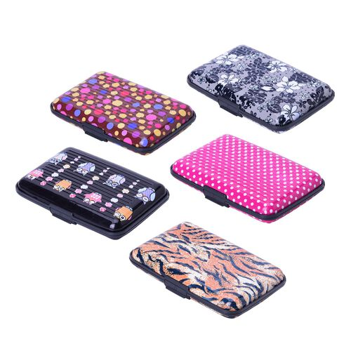 Set of 5 Owl Print RFID Blocking Card Holder (Size 11x7.5 Cm)