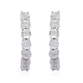 GP Diamond Dream (Rnd), Kanchanaburi Blue Sapphire Earrings (with Push Back) in Platinum Overlay Sterling Silver 0.170 Ct.