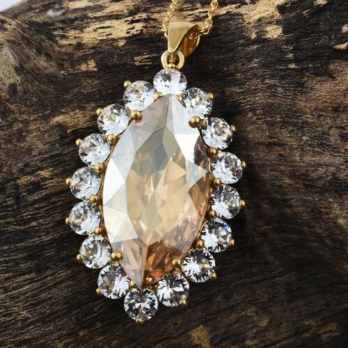 J Francis Crystal from Swarovski - Golden Shadow Crystal (Mrq 32x17 MM), White Colour Crystal Pendant with Chain 14K Gold Overlay Sterling Silver, Silver wt 8.95 Gms.