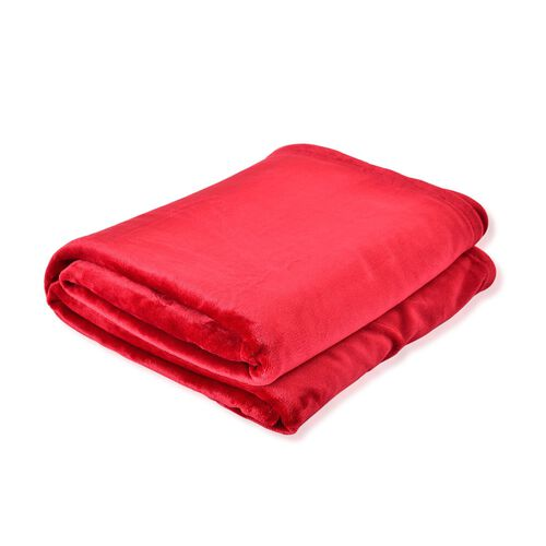 Superfine 290 GSM Microfibre Flannel Blanket Red Colour 150x200 cm
