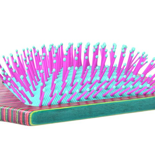 Pink, Blue and Multi Colour Stripes Pattern Wooden Massage Comb (Size 25x8 Cm)