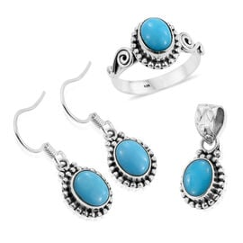 Arizona Sleeping Beauty Turquoise (Ovl) Solitaire Ring, Pendant and Hook Earrings in Sterling Silver 5.00 Ct.