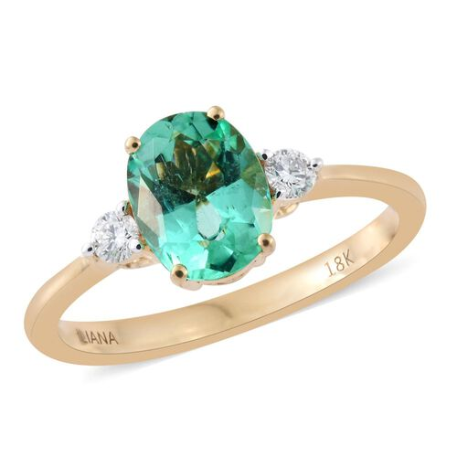 ILIANA 18K Yellow Gold 1.20 Carat AAA Boyaca Colombian Emerald Ring with Side Diamond SI G-H