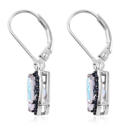 Mercury Mystic Topaz (Cush), Blue Diamond Lever Back Earrings in Platinum Overlay Sterling Silver 3.250 Ct.