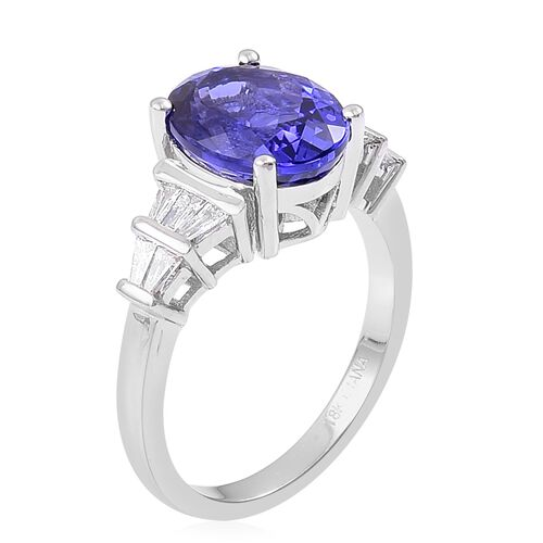 ILIANA 18K White Gold AAAA Tanzanite (Ovl 4.75 Ct), Diamond (SI/G-H) Ring 5.250 Ct.