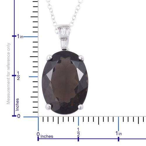 Brazilian Smoky Quartz (Ovl 11.25 Ct), White Topaz Pendant With Chain in Rhodium and Platinum Overlay Sterling Silver 11.400 Ct.