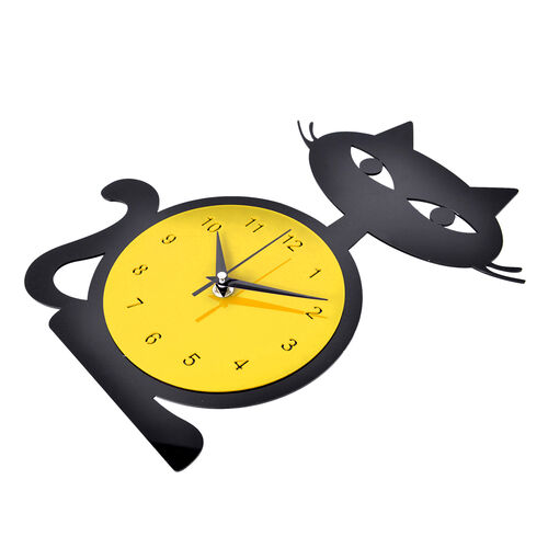 Modern Stylish Black and Yellow Cat Design Wall Clock
