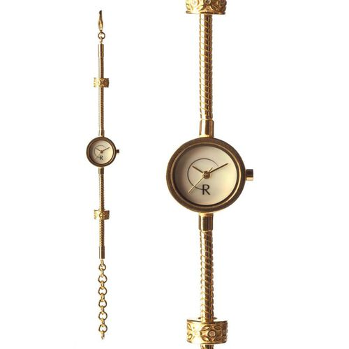 RACHEL GALLEY White Mother of Pearl and Swarovski Crystal Japanese Movement Gold Plated Snake Bracelet Timepiece