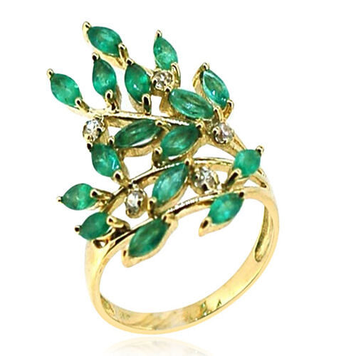 9K Y Gold AAA Kagem Zambian Emerald (Mrq), Natural Cambodian White Zircon Ring 2.500 Ct.