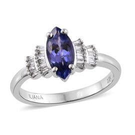 ILIANA 18K White Gold 1.25 Carat AAA Tanzanite Ring with Diamond (SI/G-H)