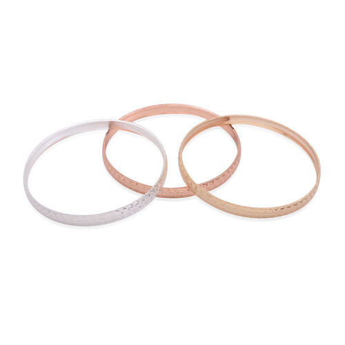 Close Out Deal Rose, Silver and Gold Plated 3 Brass Bangle (Size 7)