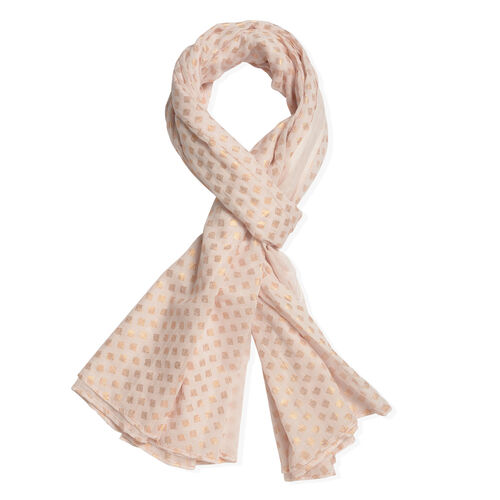 100% Cotton Golden Colour Polka Dots Pattern Foil and Baby Pink Colour Scarf (Size 180x100 Cm)