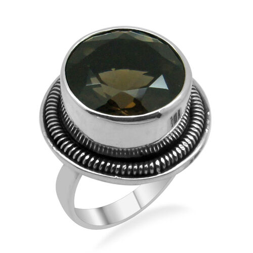 Royal Bali Collection Brazilian Smoky Quartz (Rnd) Solitaire Ring in Platinum Overlay Sterling Silver 12.680 Ct.