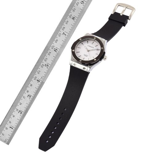 BASELWORLD Inspired - STRADA Japanese Movement White Dial Watch in Silver Tone bezel with Black Silicone Strap