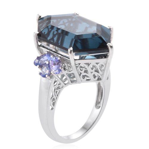 Indicolite Quartz and Tanzanite Ring in Platinum Overlay Sterling Silver 24.500 Ct.