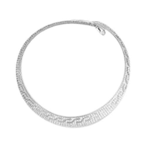 Vicenza Collection Rhodium Plated Sterling Silver Cleoptra Necklace (Size 18), Silver wt 24.02 Gms.