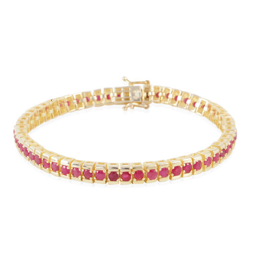 AAA Burmese Ruby (Rnd) Bracelet (Size 7.5) in 14K Gold Overlay Sterling Silver 8.000 Ct.