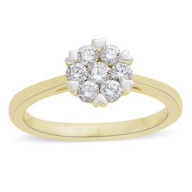 ILIANA 18K Y Gold IGI Certified Diamond (Rnd) Floral Ring 0.500 Ct.