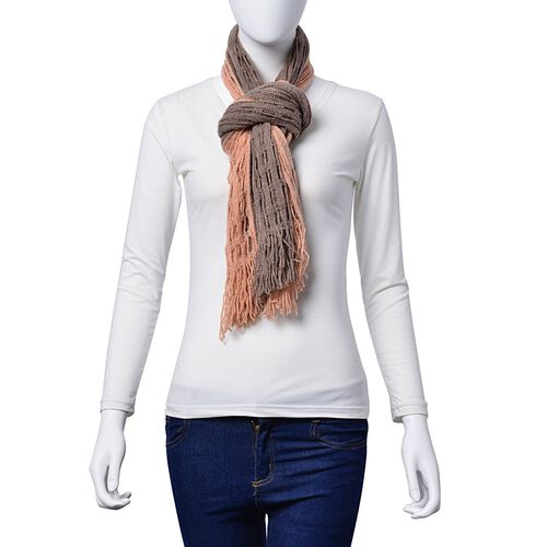 Designer Inspired Double Layered Pink and Grey Colour Scarf (Size 160x20 Cm)