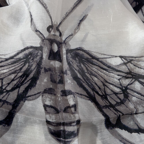 100% Mulberry Silk Black and Off White Colour Hand Screen Butterfly and Dragonfly Printed Scarf (Size 180x100 Cm)