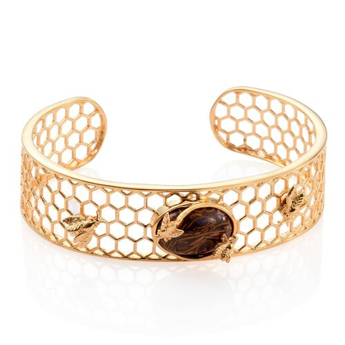Rare Natural Honey Jasper (Ovl) Cuff Bangle (Size 7.5) in ION Plated 18K Yellow Gold Bond 9.750 Ct.